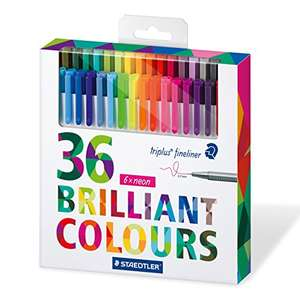 Staedtler 334 Triplus Fineliner Superfine Point Pens, Assorted Colours, Pack of 36 at Amazon for £10 (Prime or £11.99)