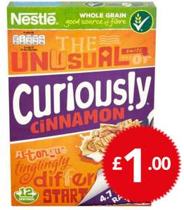 NESTLE CURIOUSLY CINNAMON GRAHAMS 375G only £1 at Poundstretcher