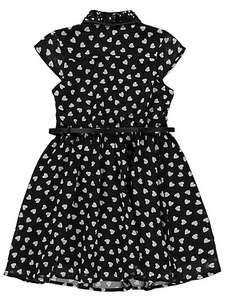 asda george girls 4-5 to 13-14 year olds heart print belted shirt black dress £7 down from £12 (free C&C)