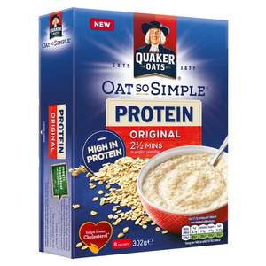 Quaker Oats Oat So Simple Protein Original Or Cinnamon 8 x 37.73g at Morrisons for £1