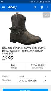 Girls boots £6.95 @ Shoes Studio on Ebay free delivery all sizes except 1 (Free C&C)