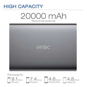 Power Bank, Vinsic® 20000 mAh Portable Charger AND VINSIC Universal Qi Wireless Charger/ Quick Charge together for £25.90 @ Amazon
