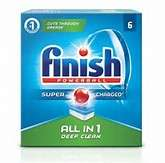 Six pack of Finish All in one dishwasher tabs at Home bargains. 49p