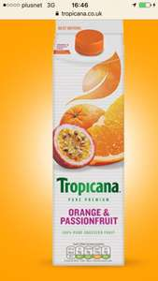 Tropicana orange and passion fruit 850ml £1 at Poundland