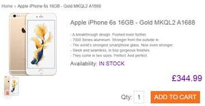 Apple iPhone 6s 16GB - Gold £344.99 @ Toby Deals