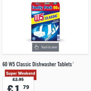 Amazing price for dishwasher tablets : 60 W5 Classic Dishwasher Tablets £1.79 @ Lidl