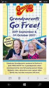 grandparents go free to Gulliver's with each full paying person on 30th September and 1st October