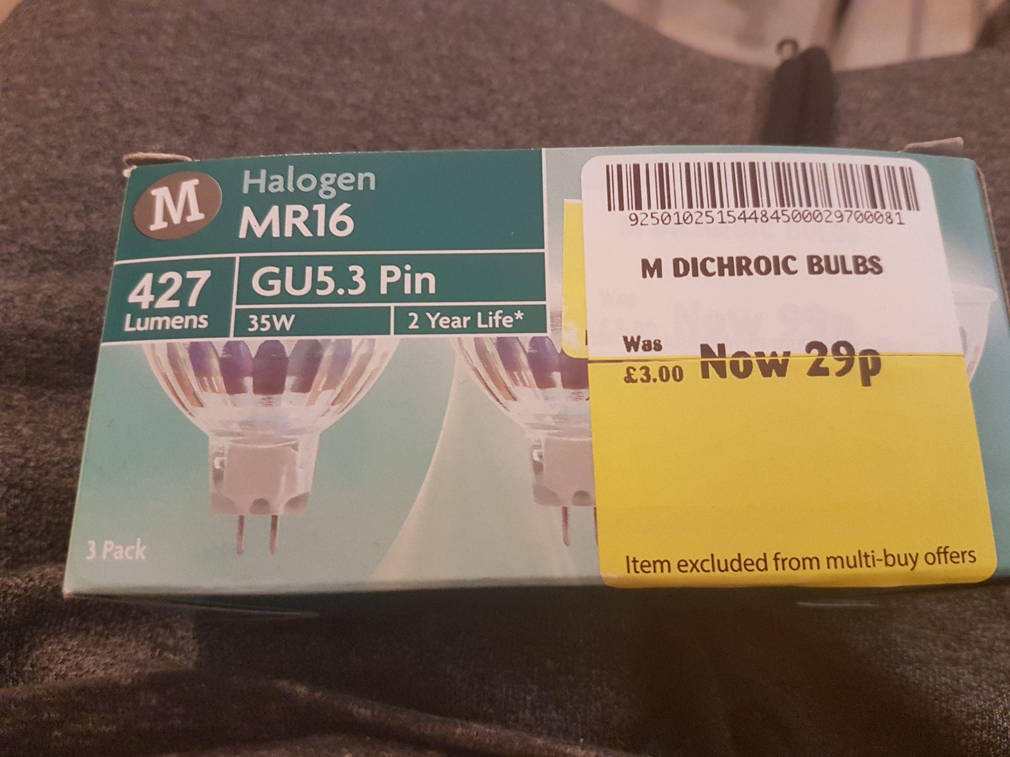 Halogen MR16 GU5.3 bulb 29p instore @ Morrisons