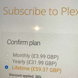 Plex Pass for £59.37 (38% off)