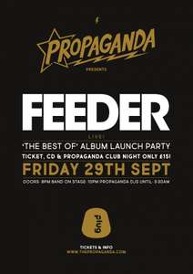 Ticket to see Feeder in Sheffield & FREE copy of The Best of Album for £15