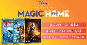 2 Disney Blu-Ray for £13.50, 2 Disney DVD for £10.80, 2 Disney 3D Blu-Ray £16.20 prices are delivered price using code SIGNUP10 @ zoom.co.uk (prices for Amazon, Zavvi, HMV, Tesco Disney Multi-Buy Offers in description)