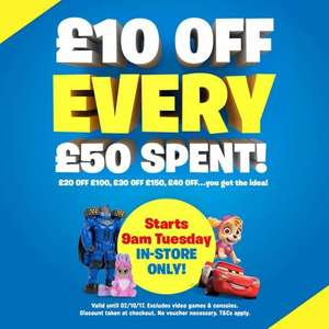 £10 off £50 spend and £20 off £100 Spend from Tues 26/9 @ Smyths Toys