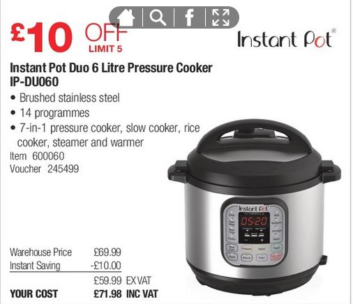 Instant Pot Duo IP-DUO60 £71.98 @ Costco
