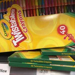 Crayola 40 twistable crayons reduced to £2.50 from £10 in store Tesco Huntingdon