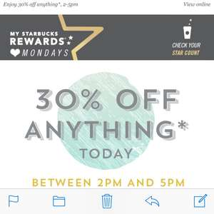 30% off everything at Starbucks, today, 2pm-5pm, with unique emailed code.