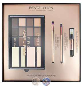 Offer Stack - Makeup Revolution Pro Amplified Brow Palette with Brushes (was £30) Now £15 / Get THREE for £28 delivered at Superdrug