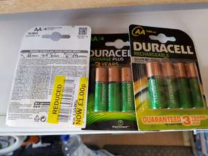 4 pack Duracell rechargeable - £1 instore @ Tesco