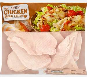 Tesco (100%) Chicken Breast Fillet (1Kg) (No added Water or Salt) Save £1.00 was £5.00 now £4.00 @ Tesco