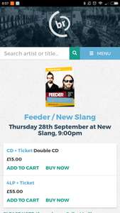 Feeder album launch ticket + copy of double CD at Kingston (28th Sept @ Kingston Hippodrome) - £15