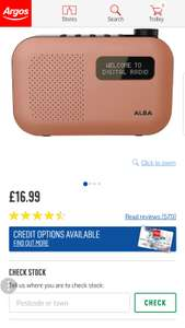 Alba Mono DAB Radio - Orange @ £16.99 argos