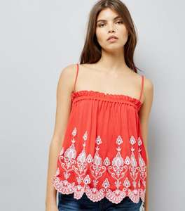 Red Contrast Embroidered Cami Top - New Look - was £12.99 now £2 (+ £3.99 P&P for orders under £45)