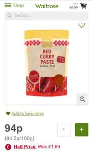 Thai Taste noodles, curry paste, sweet chilli sauce and coconut milk half price 94p at Waitrose