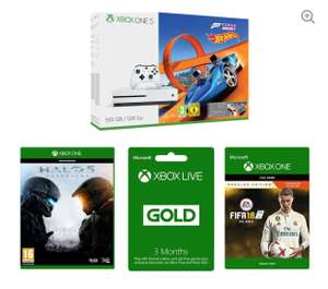 Xbox One S 500 GB with Forza Horizon 3 + Hot Wheels Expansion DLC + FIFA 18 Ronaldo Edition DLC + Halo 5 + 3 Months Xbox Live £208.99 @ Currys PC World + Get £10 Voucher via VoucherCodes