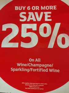 25% off when you buy 6 or more bottle of Wine & Champagne @ Sainsburys