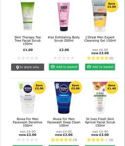 Half price selected branded face wash at wilko NIVEA LOREAL