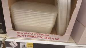 Tesco Oxford Cowley retail park 4.5L food storage plastic containers with lids Rtc 55p