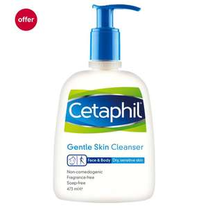 Cetaphil Gentle Skin Cleanser/Moisturising Lotion 473ml with freebies (Collect In-Store)​ £9.99 Boots