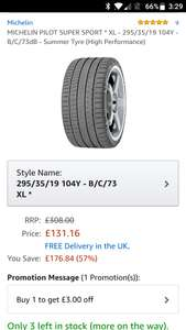 Michelin 295/35/19 tyres £128.16 @ Amazon