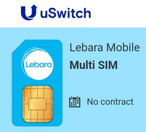 Lebara Mobile -2GB 3G data Unlimited Texts -  USwitch Deal  for just £8