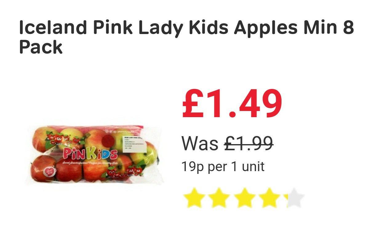 Iceland Pink Lady Kids Apples minimum 8 pack £1.49