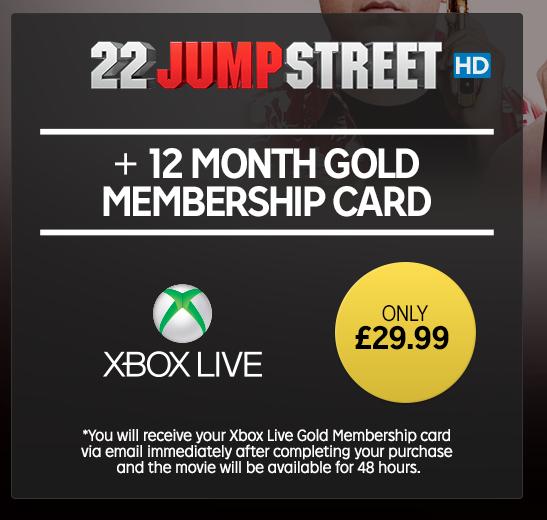 12 months Xbox Live Gold Membership (Plus 22 Jump Street rental) - £29.99 - Rakuten.tv