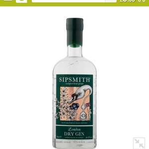 Sipsmith Gin 10% off with Smart Pass subscription £25.65 @ Ocado