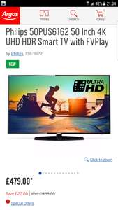 Philips 50PUS6162 50 Inch 4K UHD HDR Smart TV with FVPlay £479 @ Argos