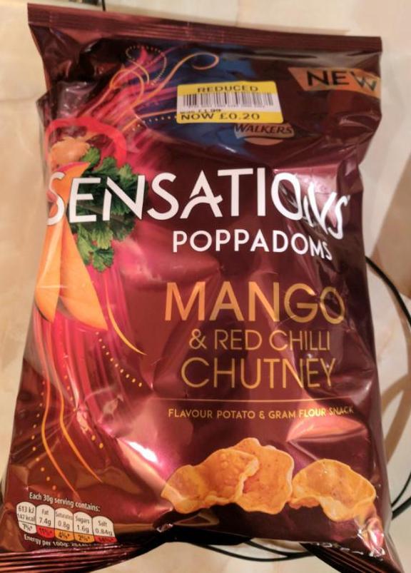 Walkers Sensations Mango & Red Chilli Chutney Poppadoms - 20p - Tesco Extra Cumbernauld