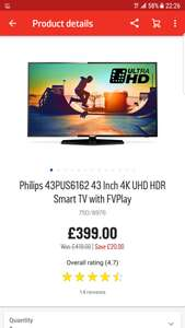 Philips 43PUS6162 43 Inch 4K UHD HDR Smart TV with FVPlay - £399 @ Argos