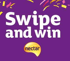 Nectar Swipe & Win @ Sainsburys - 6th to 8th October (win 200-5000 nectar points per qualifying £10 transaction)