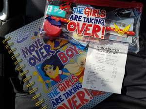 Girls superhero note book now £1.50 and pencil case with pencil,ruler,rubber, sharpener now 90p in store at sainsburys - basildon