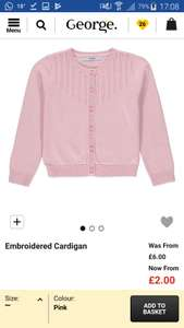 Asda girls pink cardigan only size 3-4 on sale - £2