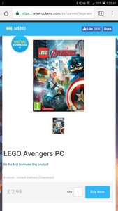LEGO Avengers - Steam - £2.99 at CDKeys (£2.84 with 5% Facebook discount, thanks CAL23)