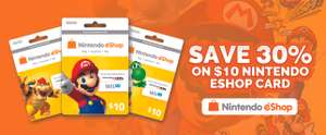 30% off $10 US Nintendo e shop credit for $7 (5.21) @ pcgamesupply