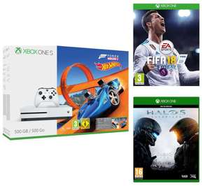 MICROSOFT Xbox One S, Forza 3, Hot Wheels expansion, Fifa 18 & Halo 5.....   £190.....  (or with added 3 Month Xbox LIVE Gold Membership £199) Currys