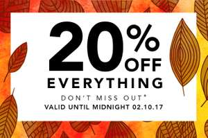 20% off everything at Peacocks website