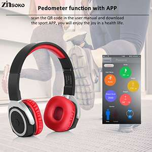 NFC Bluetooth Wireless Foldable Headphones with Carrying Box Pedometer for £13.59 (Lightning Deal) @ Sold by ATFRUK and Fulfilled by Amazon.