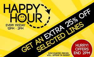Happy hour 25% basket total at studio on selected lines