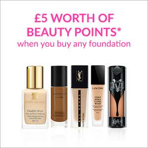 £5 worth of Beauty Points for Beauty Card Holders when you buy any Foundation + Free Del @ Debenhams (Prices from £6 & can join on site)