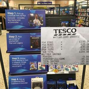 Ps4 500gb with Fifa18 + Uncharted + Wipeout + 2nd controller - £229 instore @ Tesco